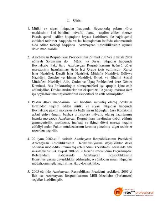 I Giris 1 Mulki Və Siyasi Huquqlar Haqqinda Beynəlxalq Paktin 40 Ci