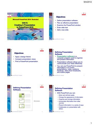 Unit A: Creating A Presentation in PowerPoint 2010 Objectives ...