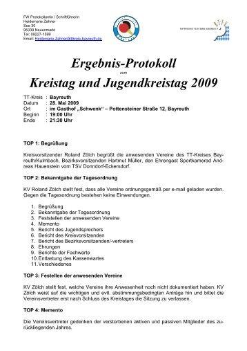 Protokoll zur Kreistagssitzung vom 28.05.2009 - Bayreuth