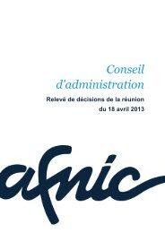 Conseil d'administration du 18/04/2013 - Afnic