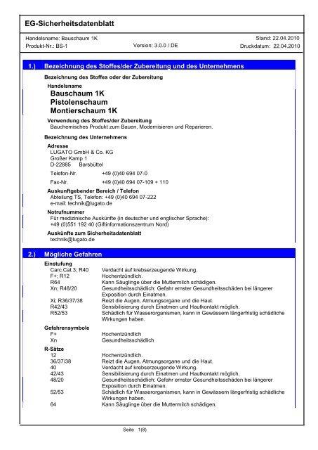 EG-Sicherheitsdatenblatt Bauschaum 1K Pistolenschaum ... - Lugato