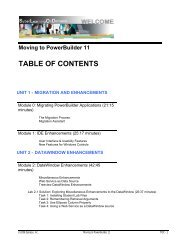 Moving to PowerBuilder 11 TABLE OF CONTENTS - Sybase