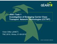 JRA1 Task 1 Investigation of Emerging Carrier Class Transport - Géant