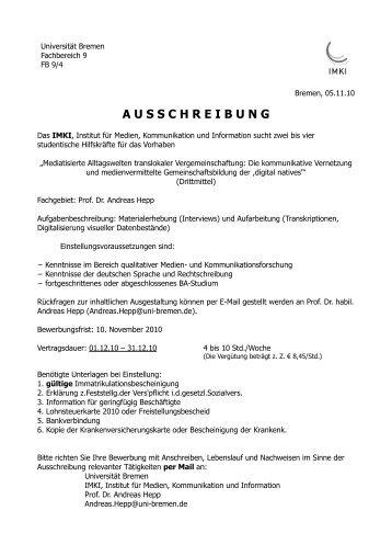 A U S S C H R E I B U N G - imki.uni-bremen.de - Universität Bremen