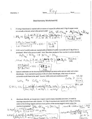 Stoichiometry Worksheet. Gas Stoichiometry Worksheet Everett ...