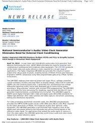 National Semiconductor's Audio/Video Clock Generator Eliminates ...