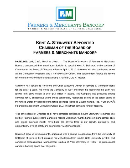 Kent A Steinwert Appointed Chairman Of The Board Of Farmers