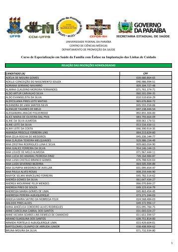 Inscrições homologadas Ênfase na implantação nas ... - CCM/UFPB