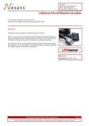 LANsense I/O and Master/Link cables - Nexans