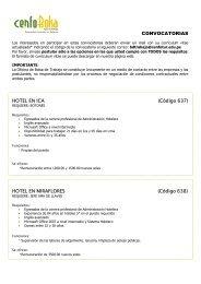 CONVOCATORIAS HOTEL EN ICA (Código 637) HOTEL ... - Cenfotur