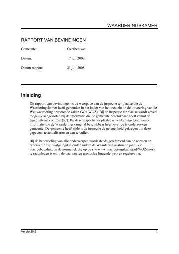 managementsamenvatting inspectie 17-7-2008 - Waarderingskamer
