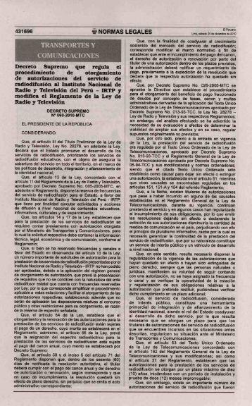 Decreto Supremo que regula el procedimiento de otorgamiento de ...