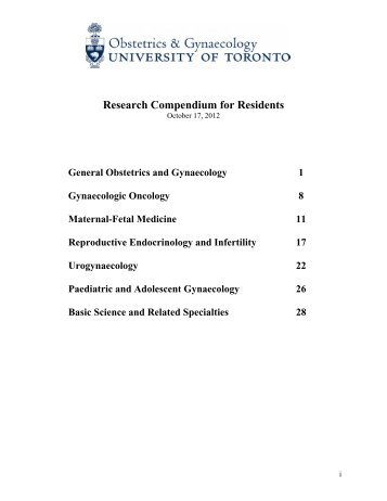 Research Compendium for Residents - University of Toronto ...