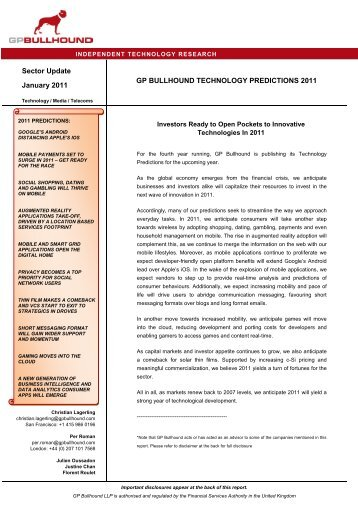 Sector Report GPB Technology Predictions January 2011_final