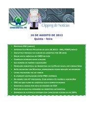 16 DE AGOSTO DE 2012 Quinta - feira - Sindimetal/PR