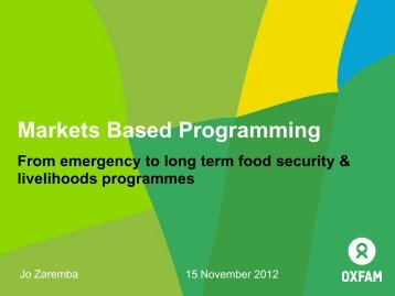 Market Programmes - Disaster risk reduction