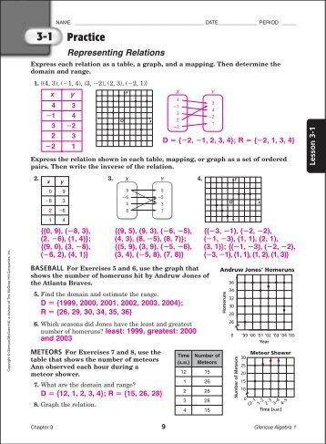 Glencoe Mcgraw Hill Algebra 1 Answer Key Workbook