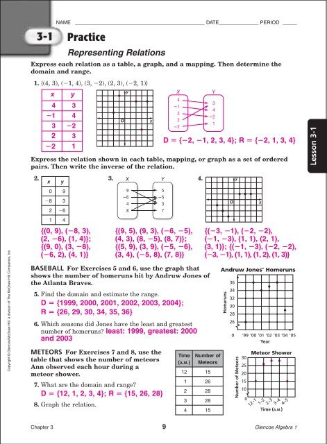 Algebra I Chapter 3 Practice Workbook Answer Key