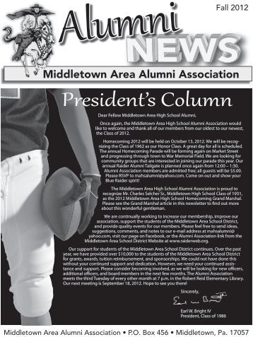 2012 Alumni Newsletter - the Middletown Area School District