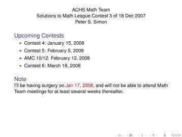Solutions to Math League Contest 3 of 18 Dec 2007 - VCNet