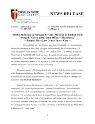NEWS RELEASE - Muslim Influence in Pentagon Prevails  Material on Radical Islam Purged Outstanding Army Officer Disciplined - Thomas More Law Center