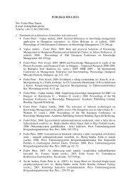 Publikációs lista - KTK-GTI - Pécsi Tudományegyetem