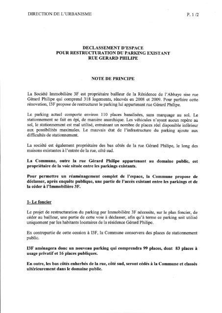 direction de l'urbanisme p . 1 / 2 declassement d ... - Daniel FARNIER