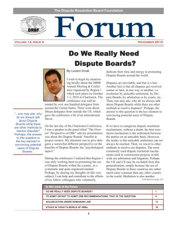Do We Really Need Dispute Boards? - Dispute Resolution Board ...