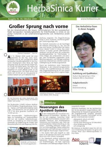 Ausgabe Nr. 39, Oktober 2010 - HerbaSinica Hilsdorf GmbH