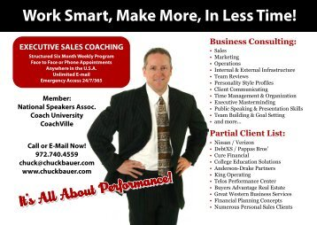 Work Smart, Make More, In Less Time! - Chuck Bauer's Mastery ...