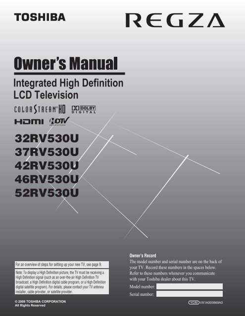 Integrated High Definition LCD Television - Toshiba Canada