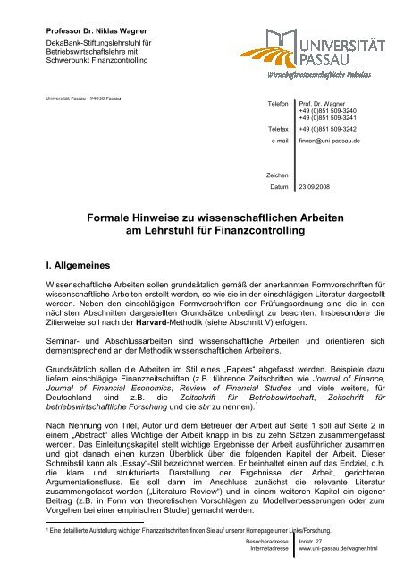 Formale Hinweise zu wissenschaftlichen Arbeiten am Lehrstuhl für ...
