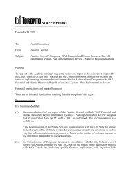 STAFF REPORT - City of Toronto
