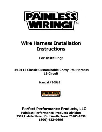 harness installation instructions painless wiring wire harness installation instructions painless wiring