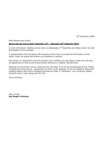 Letter re: February 2010 Ski Trip, 16th November ... - Chailey School