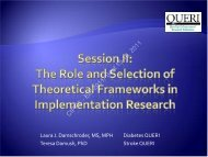 Session II: The Role and Selection of Theoretical ... - QUERI