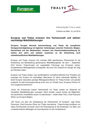 Europcar und Thalys erneuern ihre  Partnerschaft und stärken