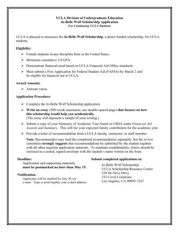 Jo-Belle Wolf Undergraduate Scholarship - Division of ...