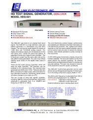 link electronics, inc. hd test signal generator, gen-lock model hdg-821