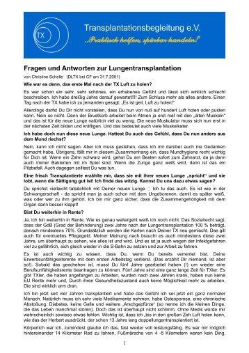 Fragen und Antworten zur Lungentransplantation