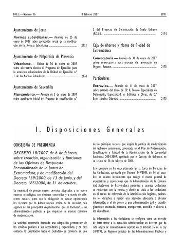 I. Disposiciones Generales - Diario Oficial de Extremadura