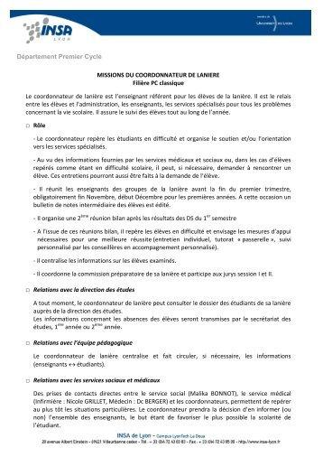 Département Premier Cycle MISSIONS DU COORDONNATEUR DE ...
