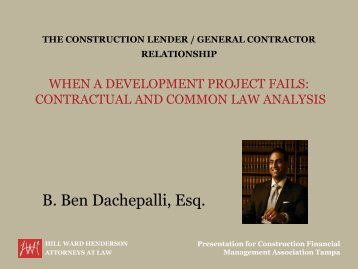 The Construction Lender-General Contractor Relationship When A ...