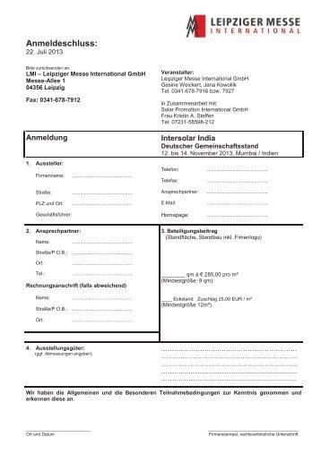 Anmeldung Intersolar India 2013 - Leipziger Messe International