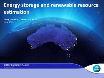 Energy storage and renewable resource estimation