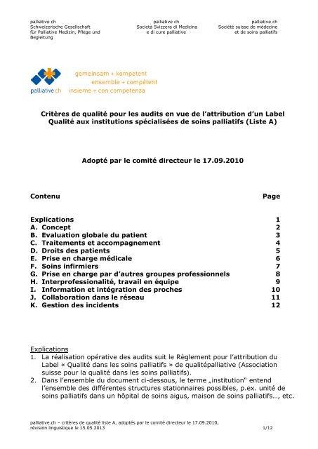 Base normative (critères de qualité) pour les audits en ... - Palliative ch