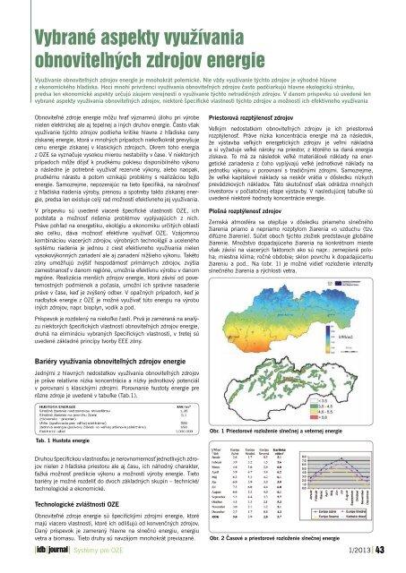 Vybrané aspekty využívania obnoviteľných zdrojov ... - iDB Journal