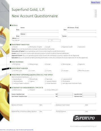 Superfund Gold, L.P. New Account Questionnaire