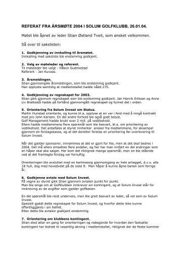 Årsmøtereferat - 26.1.2004 - Solum golfklubb