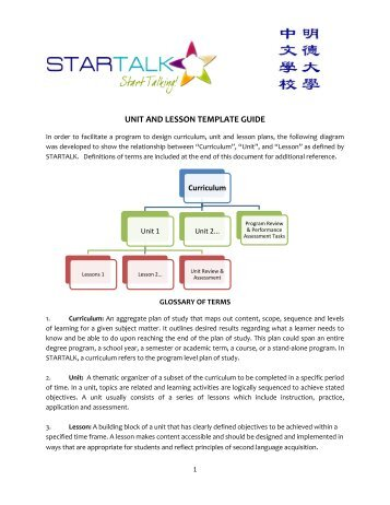 2010 Unit and Lesson plan templates and guide - StarTalk